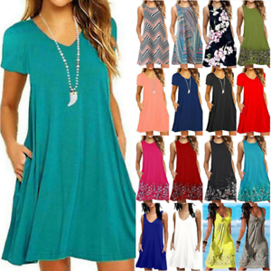 Women-039-s-Plus-Size-Loose-Mini-Dress-Summer-Beach-Tunic-Kaftan-Long-Tops-Sundress