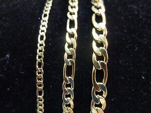 7-034-42-034-3-5-7mm-GOLD-STAINLESS-STEEL-FIGARO-ROPE-CHAIN-NECKLACE-OR-BRACELET-GOLD