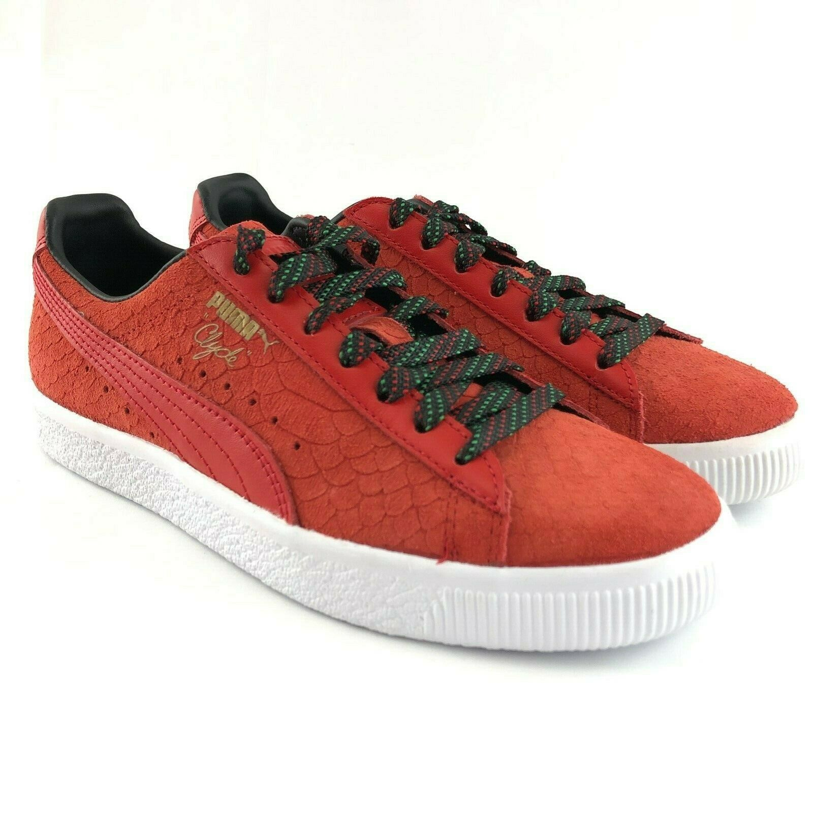 Puma Clyde Red Suede Rasta Womens shoes Size 6.5 Low Top Leather Sneakers New