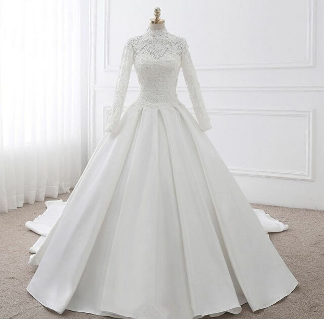 Vintage Royal Long Sleeves High Neck Lace Wedding Dresses