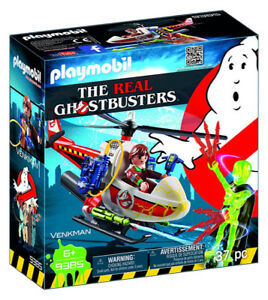 PLAYMOBIL-Ghostbuster-Venkman-with-Helicopter-Building-Set-9385