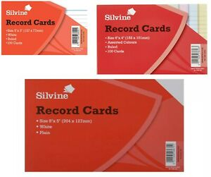 Silvine-Record-Cards-Revision-Flash-White-Ruled-or-Coloured-for-school-office