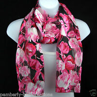 Pink Easter Tulips Womens Scarf Spring Flowers Gardening Gift Floral Scarves
