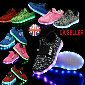 Kids Boys Girls Toddler Light Up Shoes LED Flashing Trainers Casual Sneakers UK