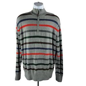 Cremieux 1/4-Zip Sweater Large Cotton/Cashmere Blend Gray Stripes