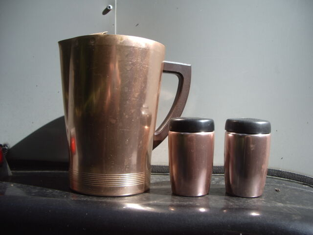 Pitcher Salt and Pepper Anodized Aluminum West Bend Vtg 1950s Copper Colored