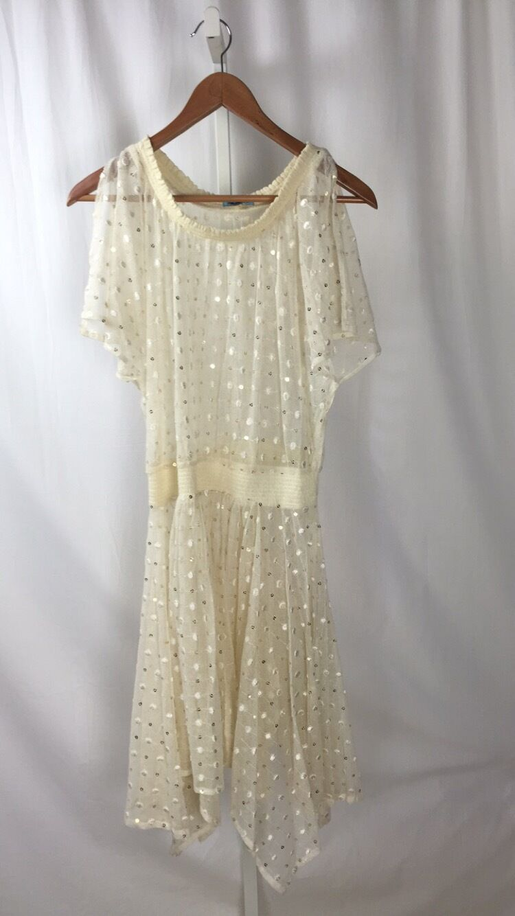 LEIFNOTES for ANTHROPOLOGIE Ivory NET DOT & GLEAM Dress sz. 8