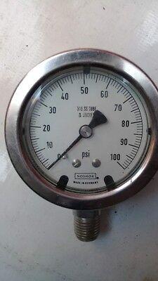 316 SS Tube /&  Socket Air Pressure Gauge Assembly T37556 Noshok