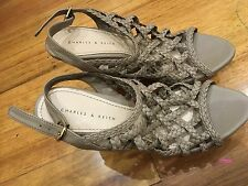 CHARLES & KEITH Wedges Sandals Shoes SIZE 38 Leather Heels Worn once
