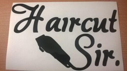 "small 8x5/"" hair cut sir shaver barber shop window sticker sign salon wall art"