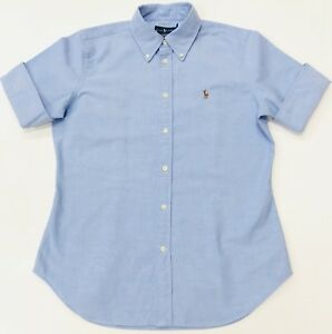 Ralph-Lauren-women-039-s-cropped-manches-Chambray-Oxford-Chemise-slim-fit-bleu