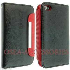 Apple-Iphone-4-4G-4S-Black-Leather-Case-Cover-Book-Flip-Pouch-Back-Skin-Wallet