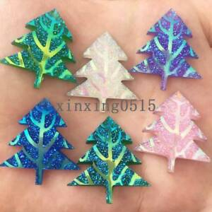 10pcs Ab Resin Christmas Tree Flatback Rhinestone Wedding Buttons