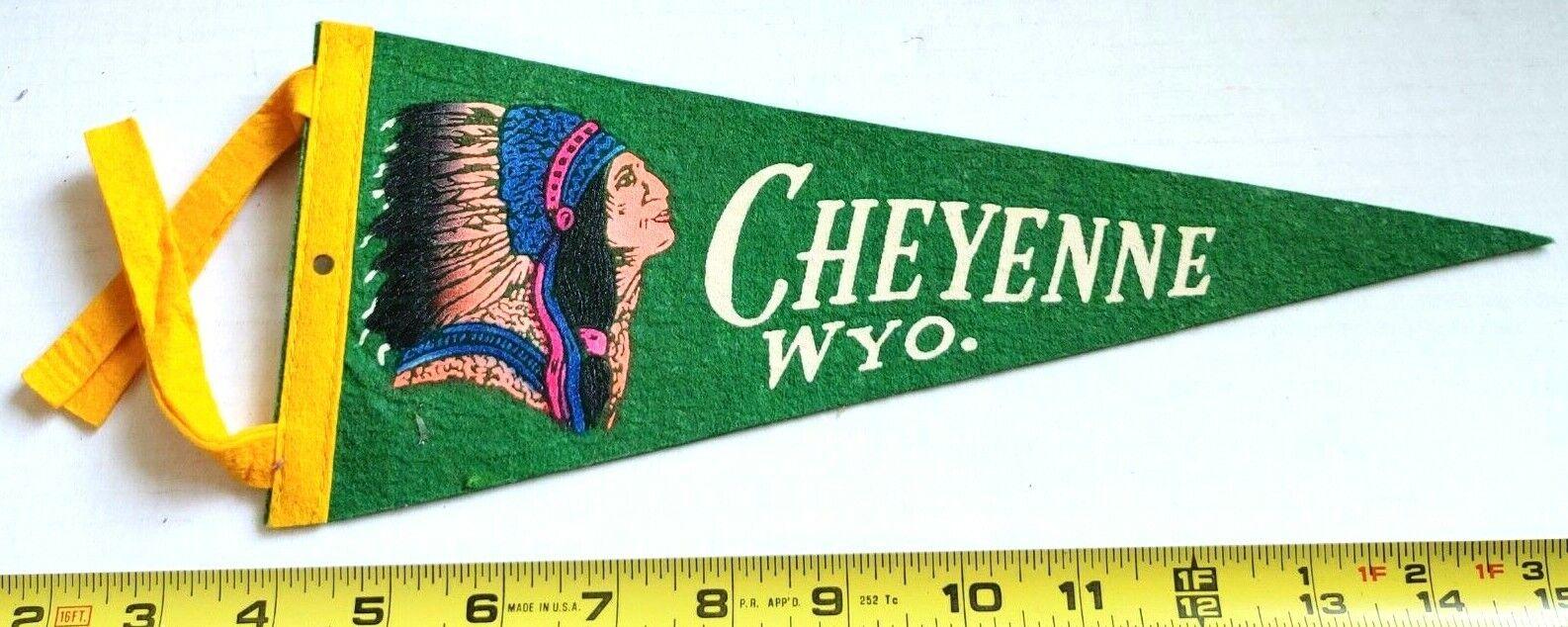 Vintage Laramie Wyoming Rodeo Souvenir Felt Pennant