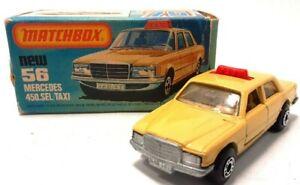 Vintage-1980-Matchbox-Superfast-56-Mercedes-450-Sel-Taxi-Beige-Nuevo-Caja-Original