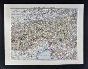 Tirol Italy Map.1887 Andrees Map Austrian Alps Salzburg Tirol Austria Italy Venice