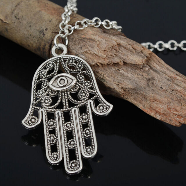 Good Luck Protection Hamsa Symbol Fatima Hand Evil Eye Pendant Necklace FT