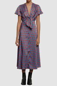 $730 Sandro Womens Blue Red Catny V-Neck Satin Tie-Front Midi Dress Size 36/US 4