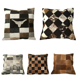 COWHIDE-LEATHER-CUSHION-COVER-RUG-COW-HIDE-HAIR-ON-CUSHION-NEW-SIZE-15-15-INCH