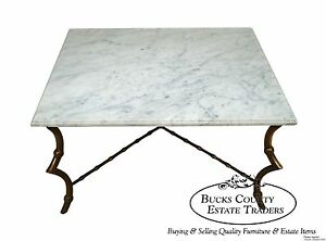 Hollywood-Regency-Faux-Bamboo-Brass-Coffee-Table-w-Italian-Marble-Top