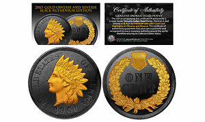Genuine-1900-039-s-INDIAN-HEAD-CENT-PENNY-Full-Liberty-Coin-BLACK-RUTHENIUM-24K-Gold