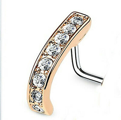 """Nose L Bend Ring w//Opal White 2.5mm Head 20 Gauge 1//4/"""" Rose Gold Plate Body Jewe"""