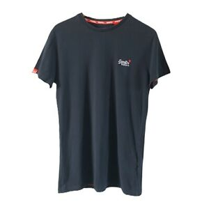 Superdry-Men-039-s-Black-T-Shirt-Short-Sleeve-Crew-Neck-The-Orange-Label-Size-S