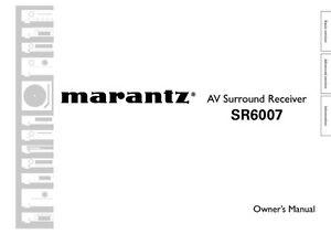 Marantz Sr6007 Owners Manual