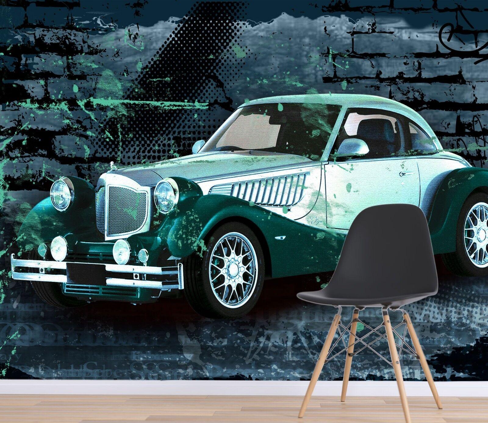 3D Grün Car Wall 7038 Wallpaper Mural Paper Wall Print Indoor Murals CA Summer