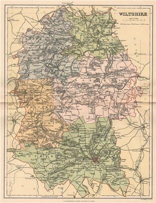 Antiques Antique County Map 1893 Old Vintage Plan Chart Spare No Cost At Any Cost Wiltshire