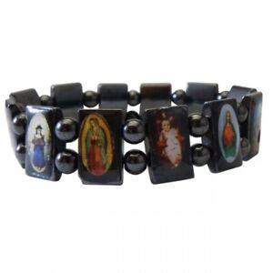 Magnetique-Hematite-Religieux-Saints-Icon-Bracelet-Aimant-Soin-Elastique-Sante
