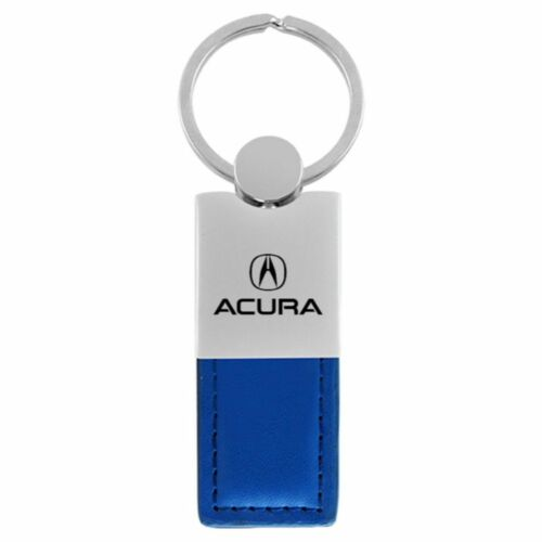 Acura Key Ring Blue and Chrome Leather Rectangular Keychain