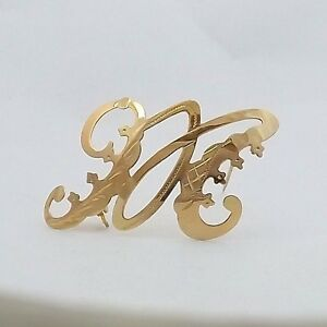 image is loading art deco 18k yellow gold cursive initial letter