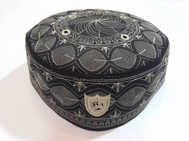 Islamic Hat Men Kufi Headgear Topi Cap Embroidery Muslim Prayer