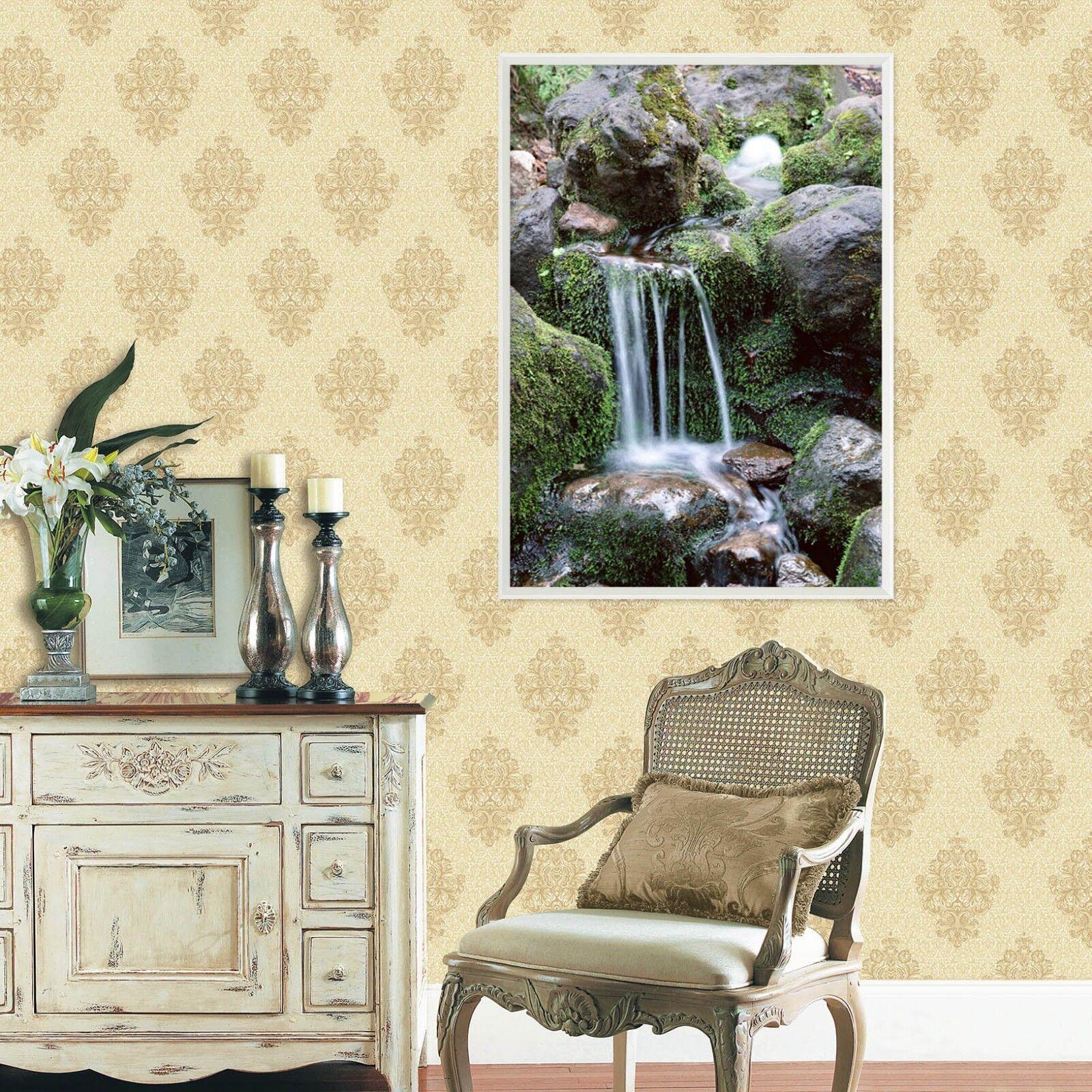 3D hierba Stone Creek 2 Póster Enmarcado Decoración del Hogar Pintura de Impresión Arte AJ Wallpaper
