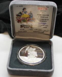 SNEEZY-Disney-One-Oz-999-Fine-Silver-Round-PART-OF-SNOW-WHITE-SET