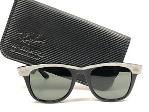 1975479bf505e9 VINTAGE RAY BAN WAYFARER PEARL WHITE BLACK KID SMALL GREY LENS BL US ...