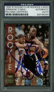 Blazers-Jermaine-O-039-Neal-Signed-Card-1996-Stadium-Club-Rookies-2-R20-PSA-Slabbed