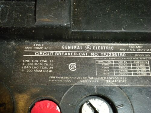 GE TFJ236150 150Amp 3 Pole 600 Vac Circuit Breaker