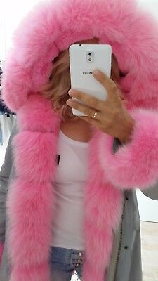 Jacke mit rosa echtfell