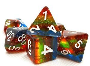 RPG-Wuerfel-Set-7-teilig-Poly-DND-Rollenspiel-Rainbow-dice4friends-w4-w20-Glitter
