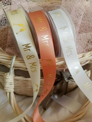 Bridal /& Rose Gold Berisfords /'MR /& MRS/' D//Faced Satin Ribbon 15 /& 25mm White