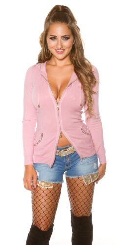 Koucla Jacke Cardigan Pullover Sweater mit Kapuze Strass und Pailletten