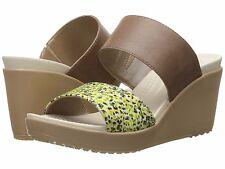 Crocs Women's Leigh II 2 Strap Graphic Wedge Sandal, Bronze/Gold, 8 M US