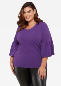 c27a93c016f Ashley Stewart Womens Plus Size 3 4 Bell Sleeve Purple Shirt Top ...