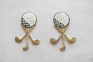 3211-Lot-2Pcs-Golf-Ball-Golf-Club-Embroidery-Applique-Patch