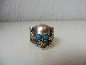 schoner-alter-Silber-Ring-Totenkopf-925-Silber-mit-Turkisen