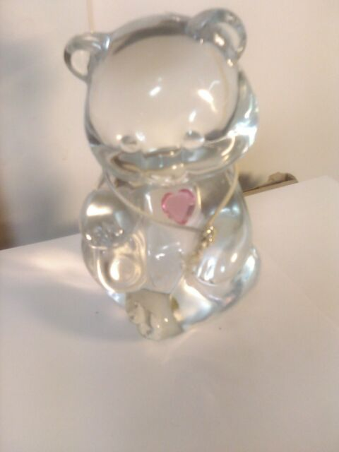 Fenton Clear Crystal Rose Zircon Heart October Birthstone Bear Figurine New | eBay