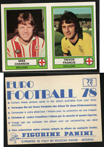 CHANNON-Francis-Inghilterra-EURO-FOOTBALL-039-78-ed-PANINI-NUOVO-ORIGINALE-n-72