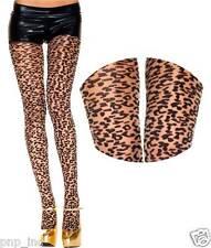 Nude/Black Animal Print Cheetah/Leopard Spots Cat Spandex Sheer Pantyhose Tights